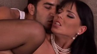 Sexy European brunette in black stockings gets pounded