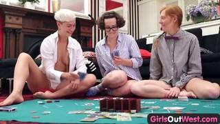 Three hairy lesbians fuck