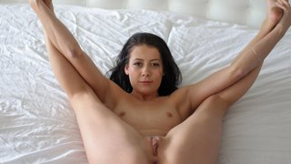 Alaina shows off her pretty little pussy to Johnny