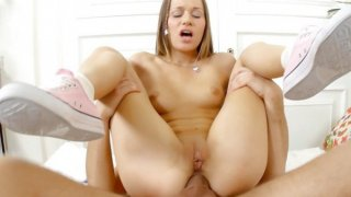 Hot young chick gets toy and rod in butt