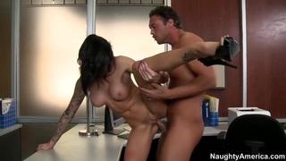 Female boss puts his dick in hers