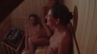 Hidden Cam Catches 3 Girls in Sauna