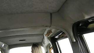 Busty blonde fucking in a cab in public