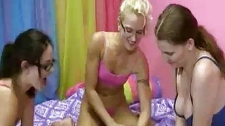Teens Call In The Guy And Tease and Stroke His Dic