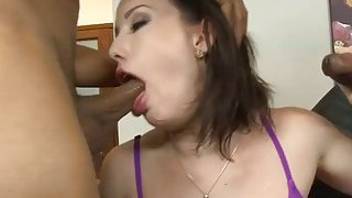 Sexy hot babe dped by massive black dudes on the couch