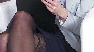Blonde secretary bangs her young boss