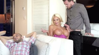 Nicolette Shea sneakily sucking Kyle's cock nearby her sleeping HB