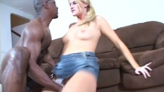 Black dude feeds and fingers sexy blonde whore Delilah Stone